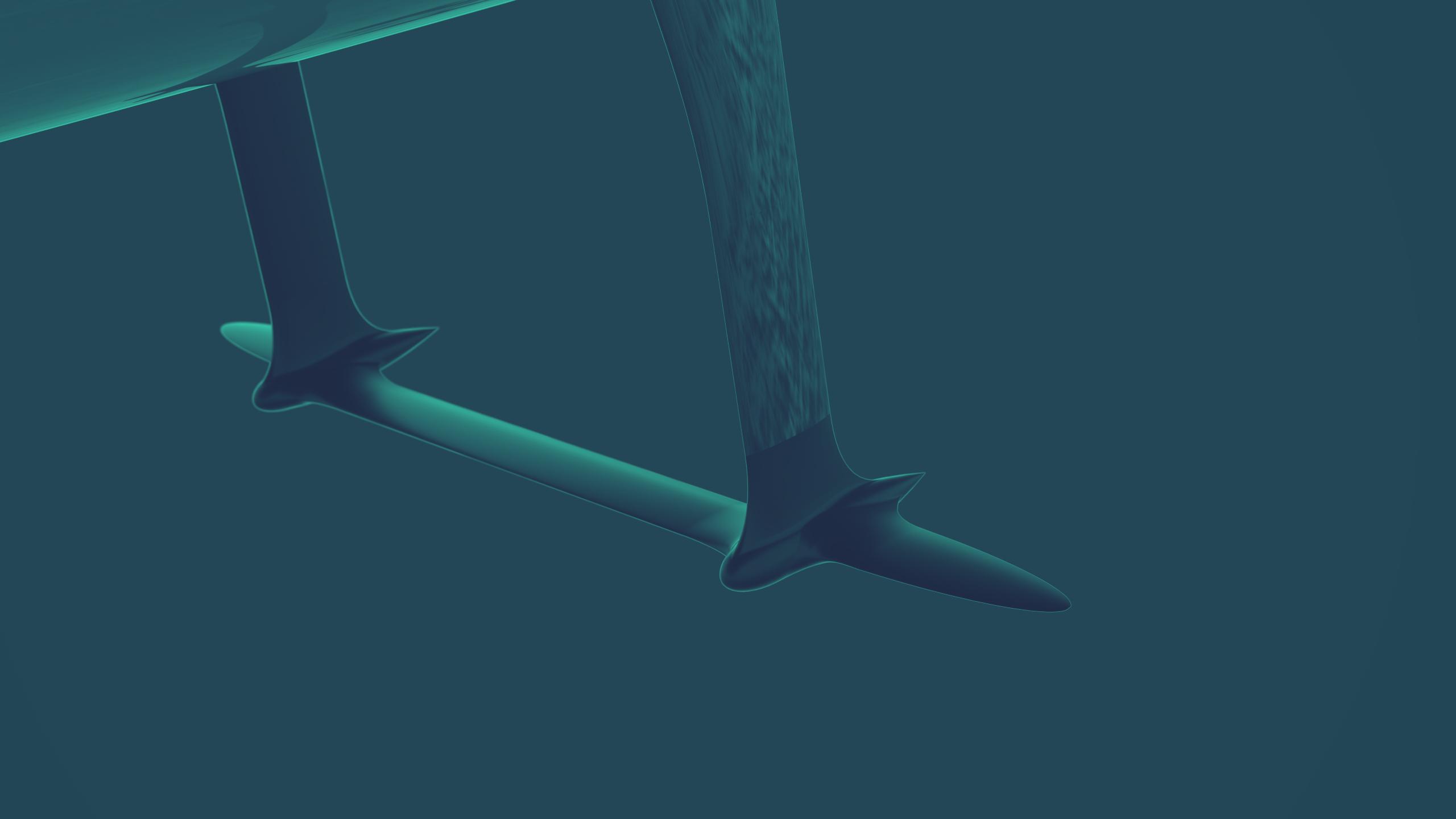 DRAAGVLEUGELS De draagvleugels zorgen voor een opwaartse kracht. Deze kracht laat de romp, bij een bepaalde snelheid, het water uitkomen. De boot 'vliegt' dan als het ware boven het water. Het voordeel hiervan is dat je meer met luchtweerstand te maken hebt dan met waterweerstand. Luchtweerstand is vele malen kleiner dan water weerstand. Hierdoor kan de energie die met de zonnepanelen wordt opgewekt efficiënter gebruikt worden.